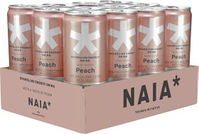 Bild på Naia Sparkling Energy Drink Peach 12x33 cl inkl. pant