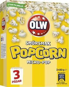 Bild på OLW Micropopcorn Smörsmak 3x80 g