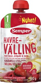 Bild på Semper Ätklar Havrevälling Banan Jordgubb & Hallon 12M 120 g