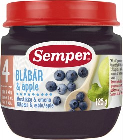 Bild på Semper Fruktpuré Blåbär & Äpple 4M 125 g