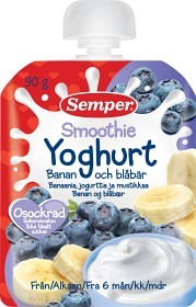 Bild på Semper Smoothie Yoghurt Banan och Blåbär 6M 90 g