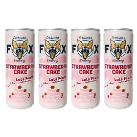 "Bild på The Dirtwater Fox Strawberry Cake ""Lets Feast"" Slim Can 4x25 cl"